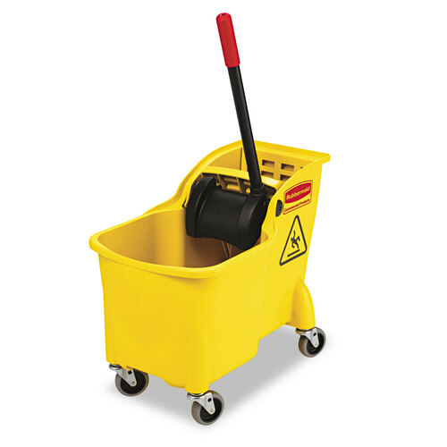 31-quart bucket/wringer combo with reverse-wringing mechanism and built-in lift handles on bottom of bucket.