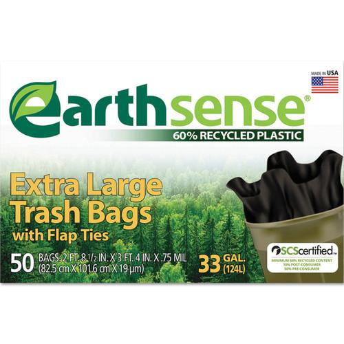 Earthsense Large Trash bags, 33 gallon, .75mil, 32.5 x 40, Black, GES6FTL50 (50 bags/box) (WBIGES6FTL50)