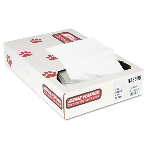 Industrial strength commercial can liners bulk pack made from high-density polyethylene.