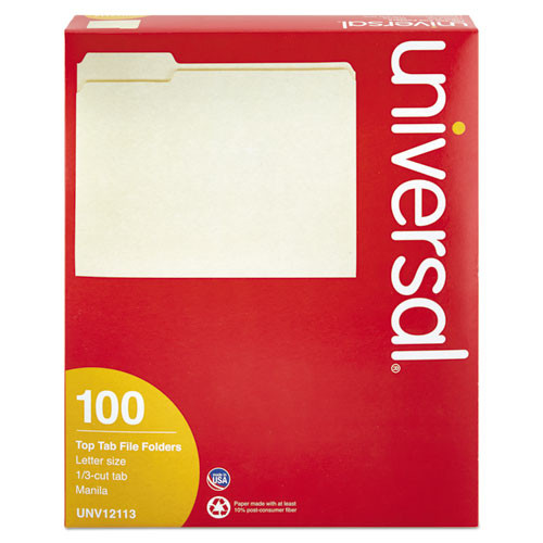 Universal Office Products File Folders, 1/3 Cut Assorted, One-Ply Top Tab, Letter, Manila, 100/Box