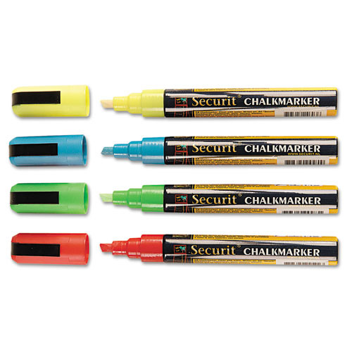 Deflecto Liquid Chalk Marker, Chisel, Assorted Colors (4/Pack)