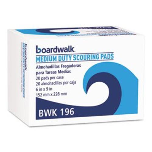 Boardwalk Medium Duty Scour Pad, Green, 6 x 9, 196 (20/case)
