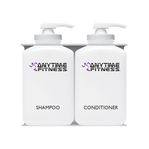 Anytime Fitness Bulk Personal Care Dispensers, 2 Chambers, Shampoo + Conditioner