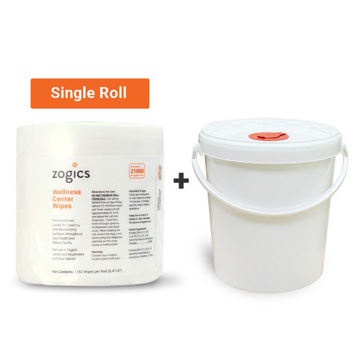 Wellness Center Wipes (single roll) + Bucket Dispenser