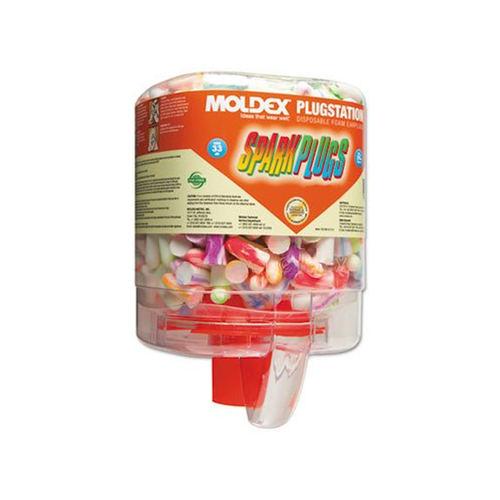SparkPlugs PlugStation Earplug Dispenser, Cordless, 33NRR, Assorted Color, 250 Pairs