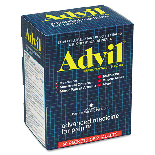 Advil Ibuprofen Tablets, Packs of 2 (50 packs/box)