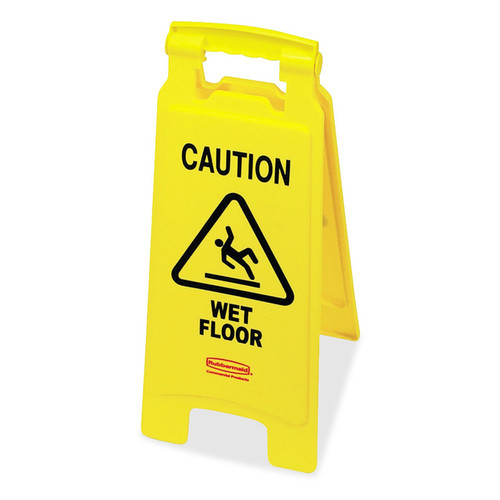 Rubbermaid Caution Wet Floor Sign, Plastic (RCP611277YW)