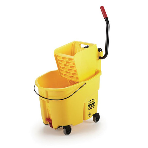 Rubbermaid Commercial WaveBrake 2.0 Bucket/Wringer Combos, Side-Press, 35 qt, Plastic, Yellow