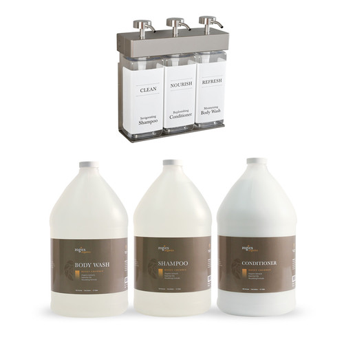 Zogics Organics Bath & Body Care Gallon Sampler Case + Dispenser