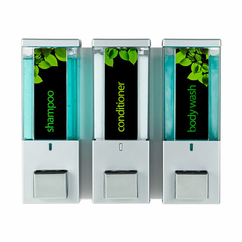 Dispenser Amenities iQon Triple Soap Dispenser, 3 Chambers, Satin/Translucent (86334)