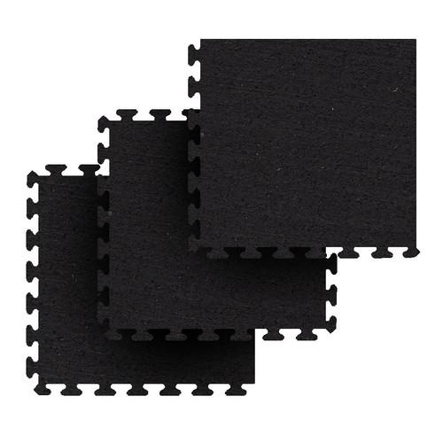 Zogics Rubber Flooring Puzzle Tiles, Standard Mat Package, Black