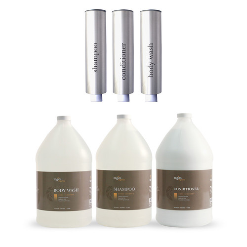 Zogics Organics Bath & Body Care Gallon Sampler Case + Kure Products Dispenser (KZB-S-C-BW-D) Brushed Aluminum