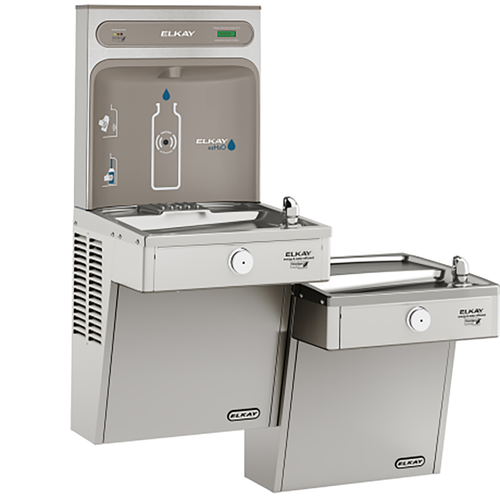 Elkay EZH2O Bottle Filling Station & Bi-Level High Efficiency Vandal-Resistant Cooler, Filtered 8 GPH, Stainless Steel, LVRCGRNTL8WSK