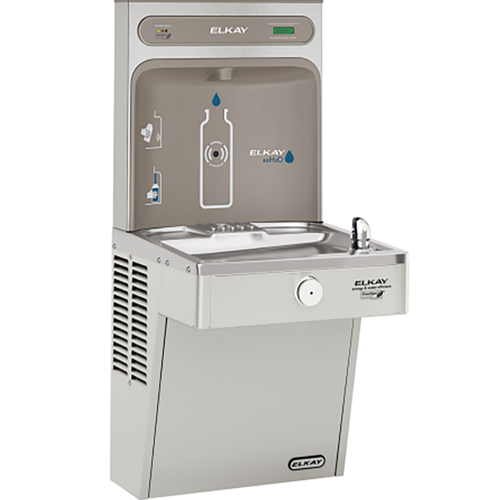 Elkay EZH2O Bottle Filling Station & Single High Efficiency Vandal-Resistant Cooler, Filtered 8 GPH, Stainless Steel