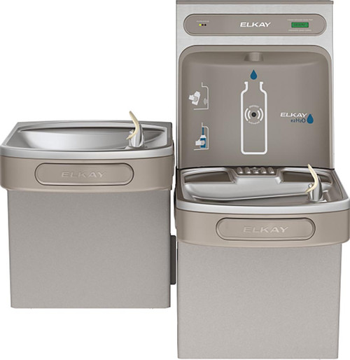Elkay EZH2O Bottle Filling Station & Versatile Bi-Level ADA Cooler, Non-Filtered 8 GPH Light Gray, ELK-EZSTL8WSLK