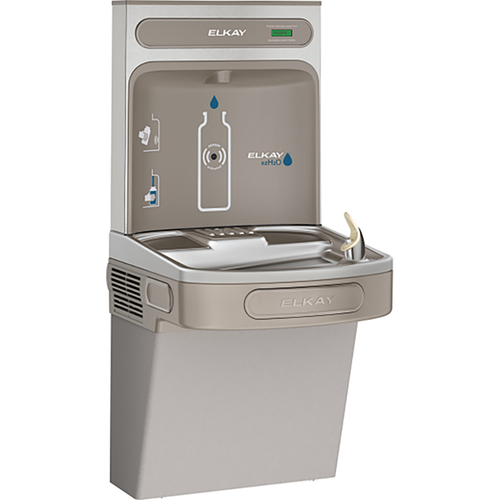 Elkay EZH2O Bottle Filling Station & Single High Efficiency ADA Compliant Cooler, Filtered 8 GPH, Light Grey, EZS8WSLK