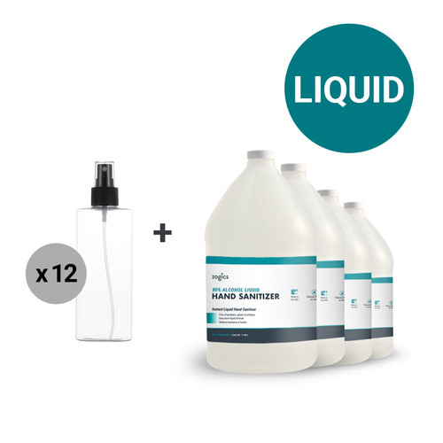 80% Alcohol Bulk Liquid Hand Sanitizer (4 Gallons) + Table Top Pump Sprayer, 6.75 oz (Case of 12)