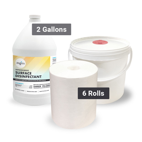 Disinfectant-Ready Wipes Bucket System with Zogics Hypochlorous Surface Disinfectant