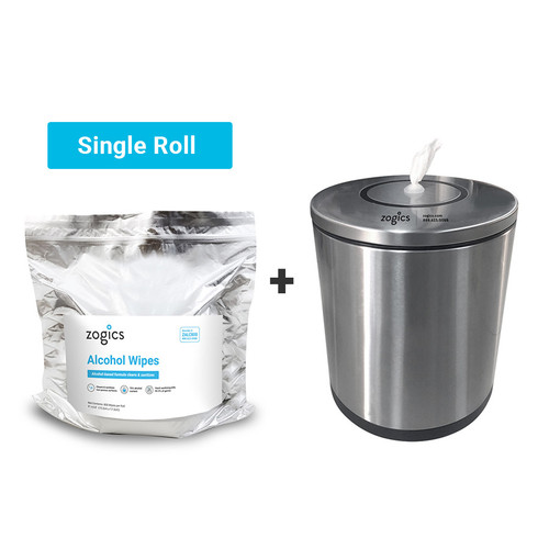 Tabletop Dispenser and Wipes Bundle (Single Roll of Alcohol Wipes)
