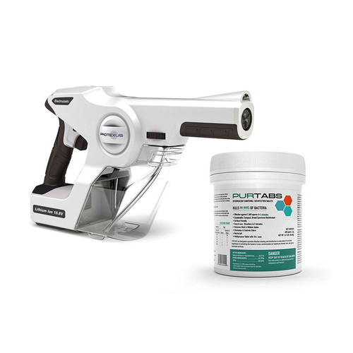 Protexus Handheld Electrostatic Sprayer and One Case of PURTABS 3.3G Disinfecting Tablets (PX200ES-ESPT3.3G-6)