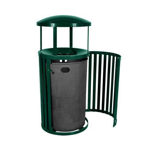 Streetscape Outdoor Trash Receptacle with Canopy and Door