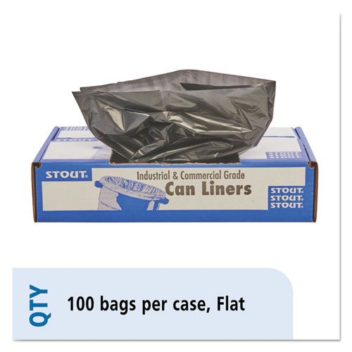 Stout Total Recycled Content Trash Bags, 65 Gallons, 1.5 Milliliters, 50 x 51, Black/Brown, 100/Carton