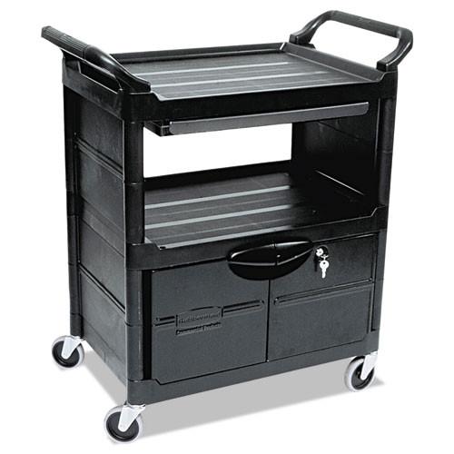 Rubbermaid RCP345700BLA Two-Shelf Utility Cart With Locking Doors