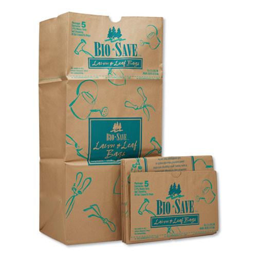 "Lawn and Leaf Bags, 30 gal, 16"" x 35"", Kraft, 50 Bags"