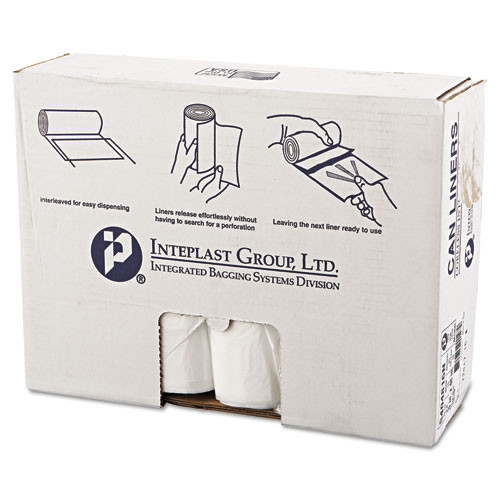 Interplast Group High-Density Commercial Can Liners, 40 x 48, 45 gallon, 16 microns, Clear, 250/Carton