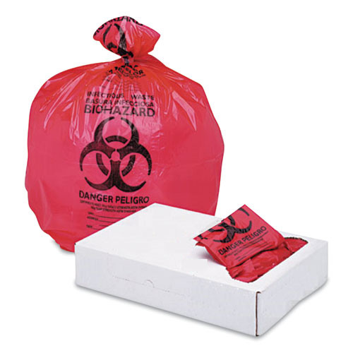 Broadwalk High Visibility Health Care Trash Can Liners 33 x 39, 33 gallon 1.3 microns, Red