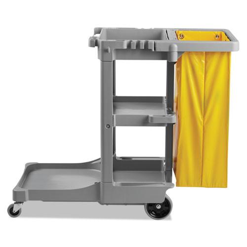 Boardwalk BWKJCARTGRA Three-Shelf Janitor's Cart