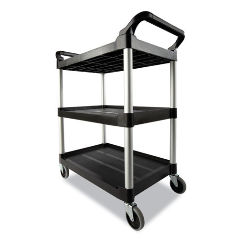 Rubbermaid Commercial RCP409100BLA Xtra Utility Cart, 3 Shelf, Cleaning Cart