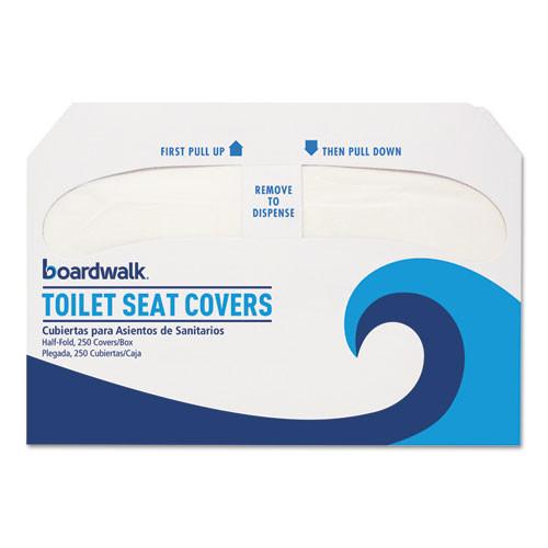 Premium Half-Fold Toilet Seat Covers, White, 250 Covers/Sleeve ⎸Boardwalk