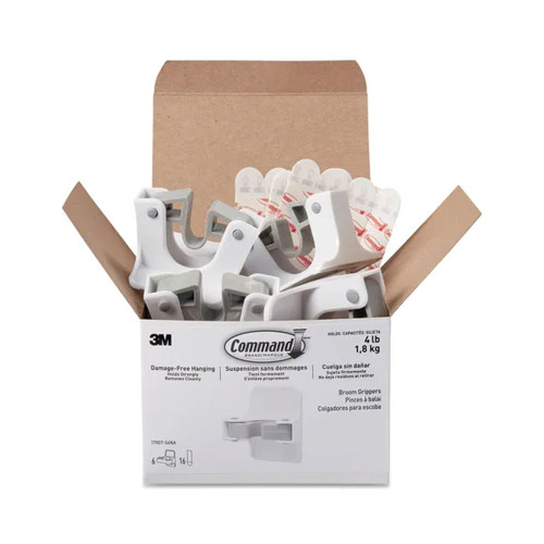 Broom Gripper White/Gray, 6 Grippers and 16 Strips per Pack | Command™ (MMM17007S6NA)