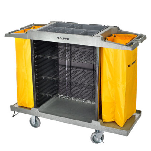 Alpine  Lodging Hotel/Housekeeping High-Capacity Janitorial Cleaning Cart