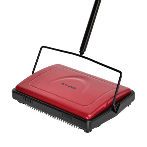 Triple Brush Floor And Carpet Sweeper, Red