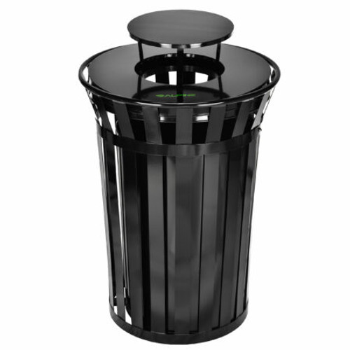 Outdoor Metal Trash Receptacle With Rain Bonnet Lid – 38 Gallon
