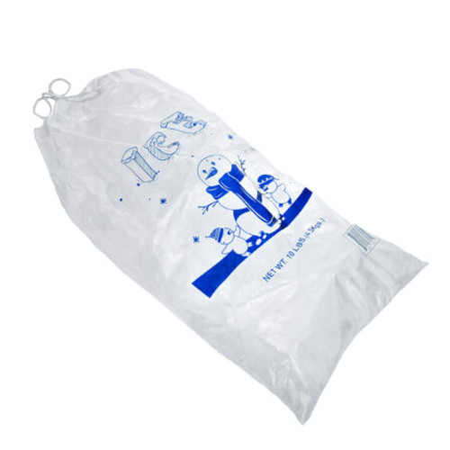 10 LB Clear Plastic Ice Bag With Cotton Drawstring, 1.5 Mil  -  500 Bags