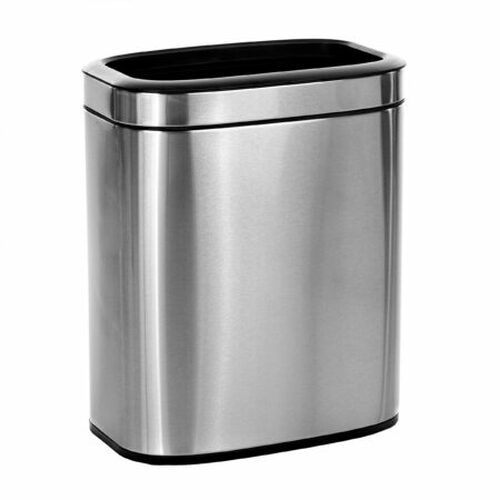 Alpine Industries 20 Liter / 5.3 Gallon Slim Brushed Stainless Steel Open Trash Can