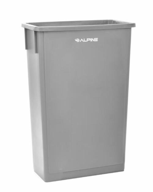 Alpine 23 Gallon Black Slim Trash Can Grey
