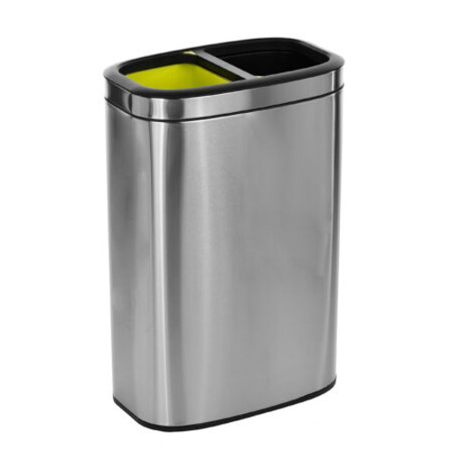 Dual Compartment 10.5 Gallon Open Trash Can Stainless Steel 470-R-40L