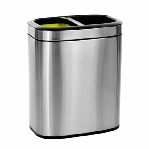 Dual Compartment 20 L / 5.3 Gal Slim Brushed Stainless Steel Open Trash Can