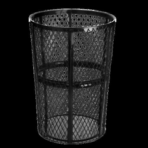 48 Gallon Metal Mesh Outdoor Trash Receptacle 473-48-BLK