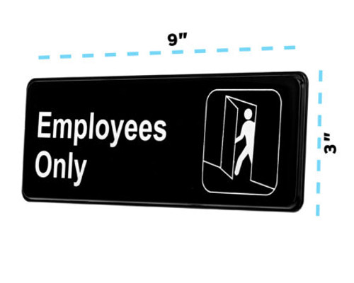 """3"""" X 9"""" Employees Only Sign Pack of 3 SGN-B-6"""