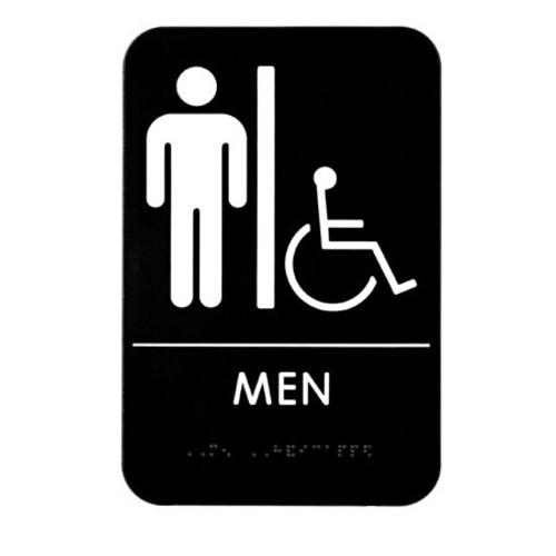 "Alpine Industries  6""X9"" Men's Braille Handicapped Restroom Sign, ALPSGN-2"