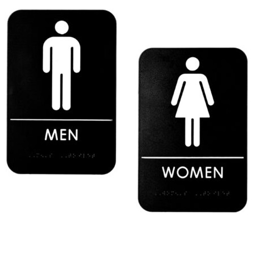 """6""""X9""""Men's And Women's Restroom Signs, Set of 2, ALPSGN-B-1"""