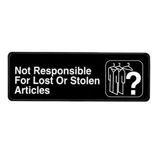 """Alpine Industries 3""""X9"""" Not Responsible For Lost Or Stolen Articles  ALPSGN-14"""