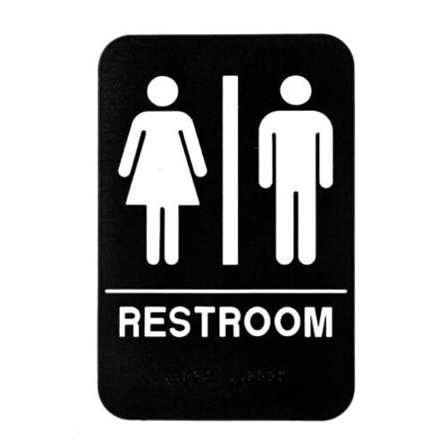 "Alpine Industries 6""X9"" Unisex Restroom Sign Black/White ALPSGN-1"