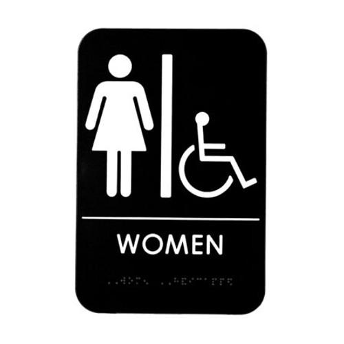 Alpine Industries Women'S Braille Handicapped Restroom Sign ALPSGN-6