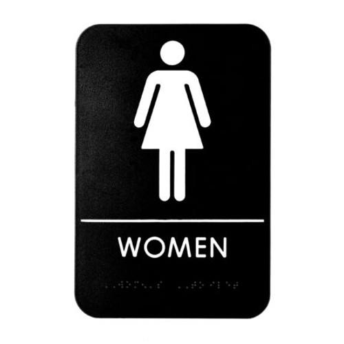 "Alpine Industries 6""X9"" ADA Compliant Women'S Braille Restroom Sign ALPSGN-5"